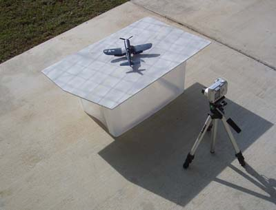 setup for photographing model airplanes