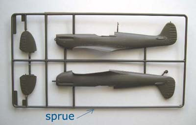 model airplane parts on sprues