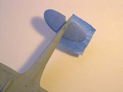 stabilizer masked with blue house-painter's tape