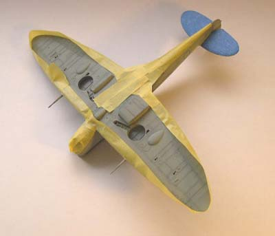 wings masked with yellow Tamiya tape